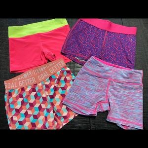 Lot of 4 girls cheer workout compression short 7/8